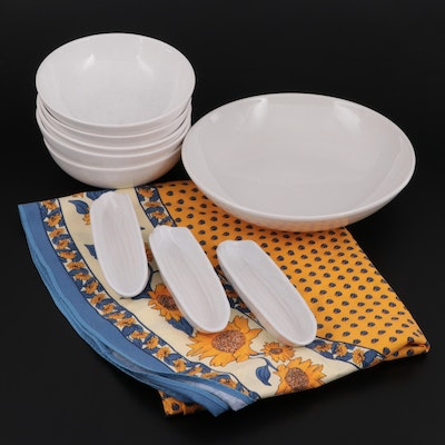 Italian Ceramic Serving Bowl with Crate & Barrel Pasta Bowls and Other Tableware