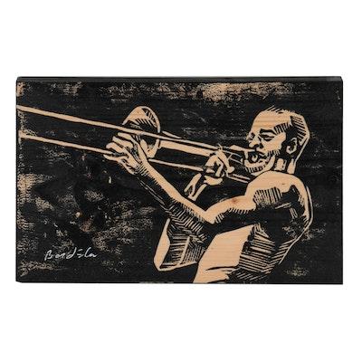 Woodcut of a Trombone Player