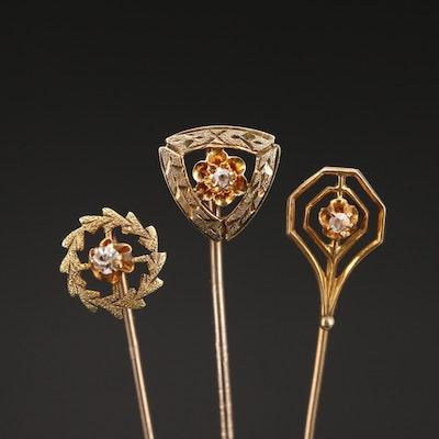 Vintage 10K Diamond and Glass Stick Pins