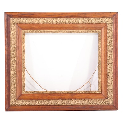 Late Victorian Oak and Parcel-Gilt Frame, Late 19th/Early 20th Century