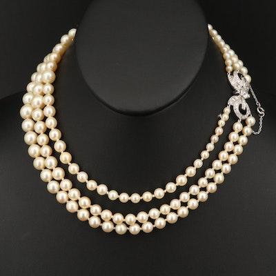 Vintage Platinum Graduated Pearl and 2.17 CTW Diamond Triple Strand Necklace