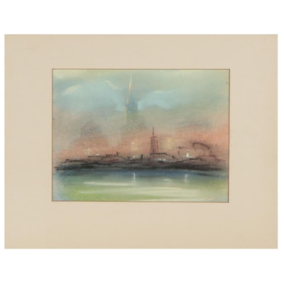 Leon Dolice Pastel Drawing of New York Cityscape