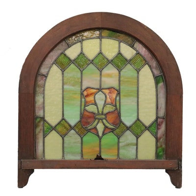 Stained Glass Arched Window Panel, Early to Mid 20th Century