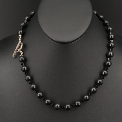Black Glass Beaded Necklace with Marcasite Heart Toggle Closure