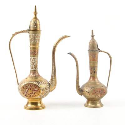 Indian Enameled and Etched Brass Coffee Pots