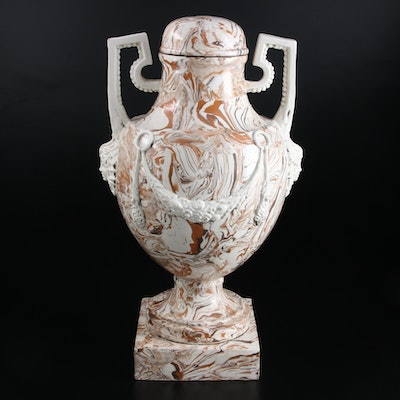 Meiselman Italian Agate Ware Neoclassical Style Covered Urn