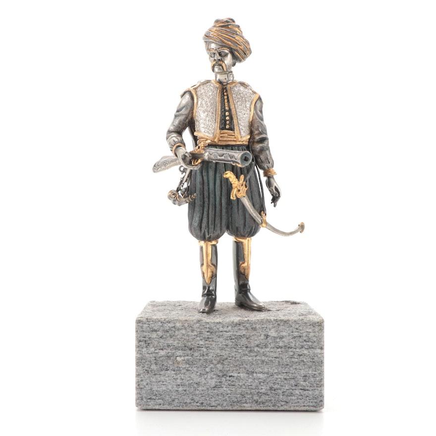 Anna Dauesiu Gilt and Silvered Bronze Figurine