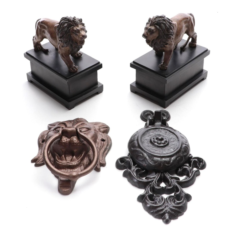 Standing Lion Composite Bookends with Cast Iron Door Knockers