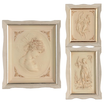 Painted Composite Plaster Wall Hangings of Classical Style Figures