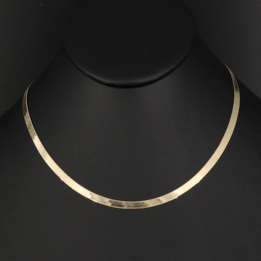 14K Herringbone Chain Necklace