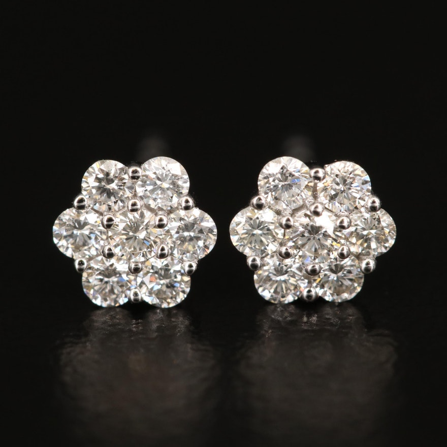 14K Diamond Cluster Earrings