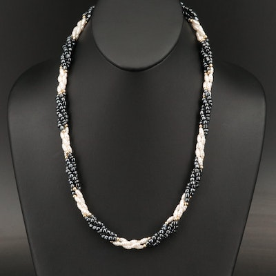 Black and White Faux Pearl Bayadère with Gold Tone Spacer Beads