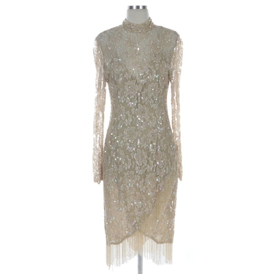 Judith Ann Creations Beaded Floral Lace Occasion Dress with Fringed Hem