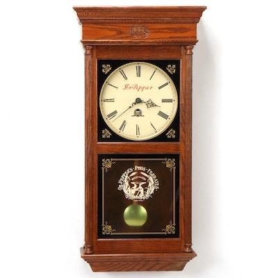 Dr. Pepper Centennial Commemorative Oak Wood Wall Clock, Late 20th C.