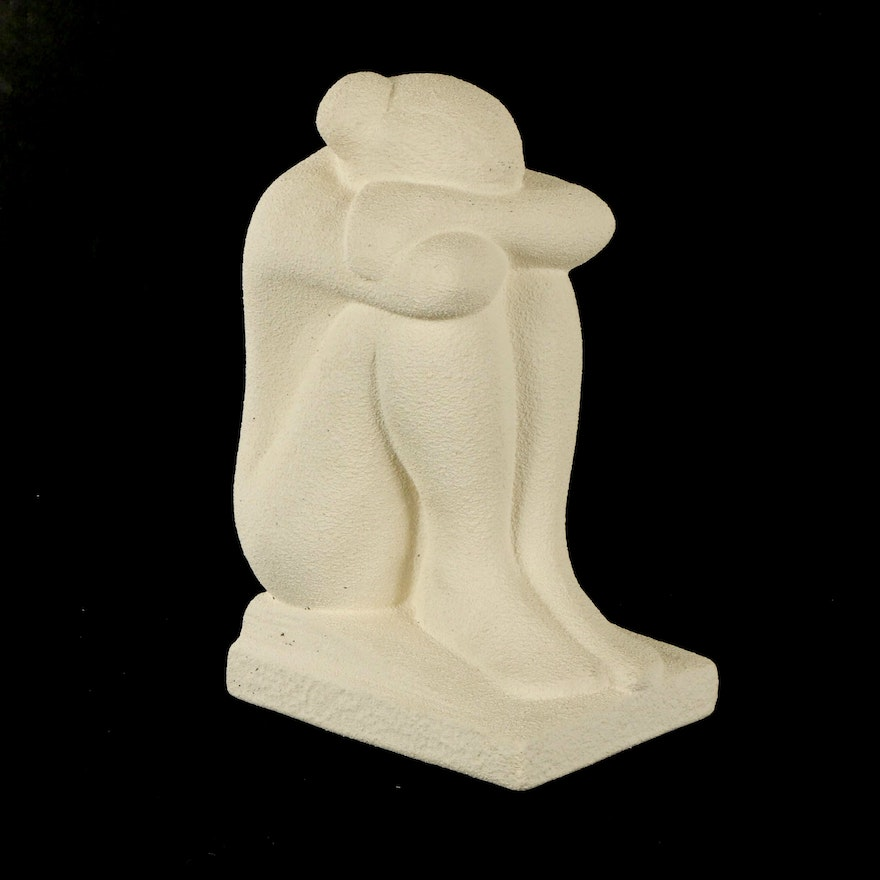 Royal Haeger Pottery Nude Woman Resting on Her Knees Sculpture, 1998