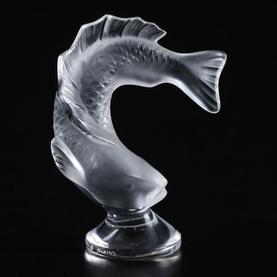 """Lalique """"Goujon"""" Frosted Crystal Seal"""