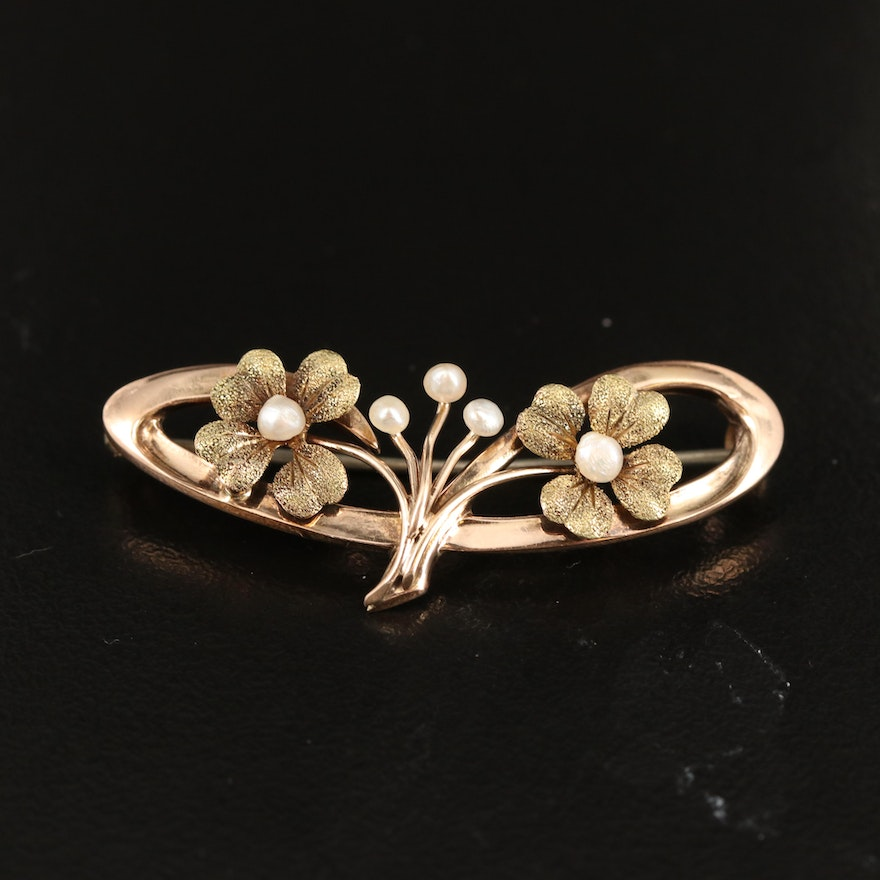 Arts and Crafts 10K Pearl Clover Brooch