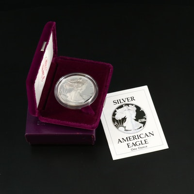 .999 Fine Silver Eagle Proof Dollar Coin, 1990