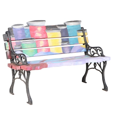Custom-Made Cast Iron and Painted-Decorated Wood Bench with Thread Spool Back