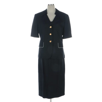 Louis Féraud Black Three-Piece Skirt Suit with White Trim