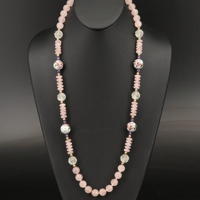 Rose Quartz Beaded Necklace with Cloisonne Accent Beads