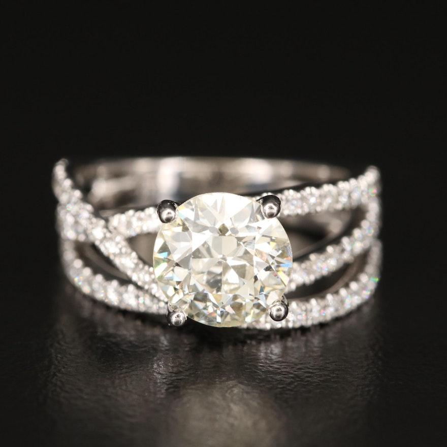 Venetti 14K Diamond Ring with 1.90 CT Center Diamond