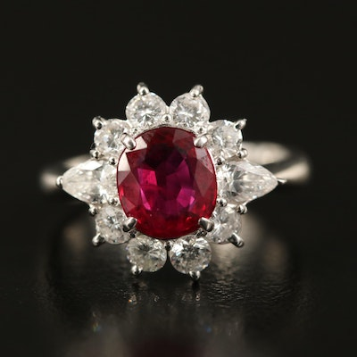 Platinum 1.62 CT Thai Ruby and 0.97 CTW Diamond Ring with GIA Report