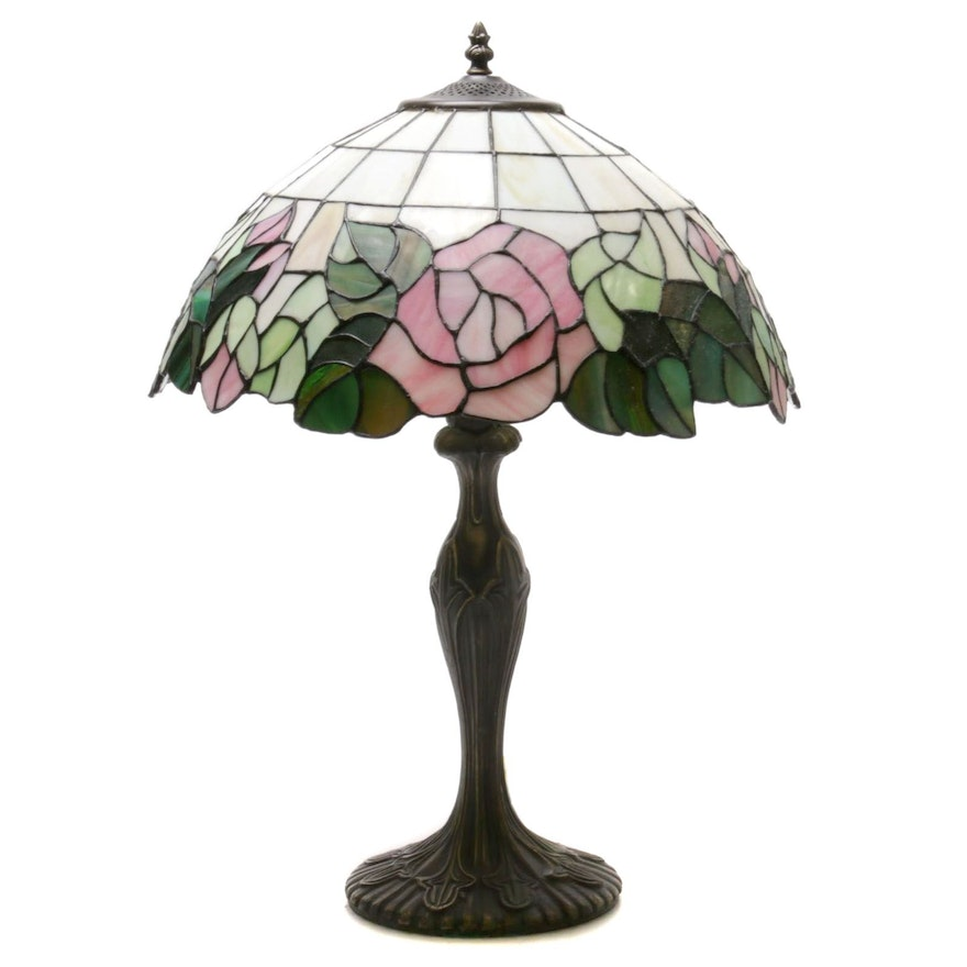 Rose Themed Slag Glass Table Lamp, Late 20th Century