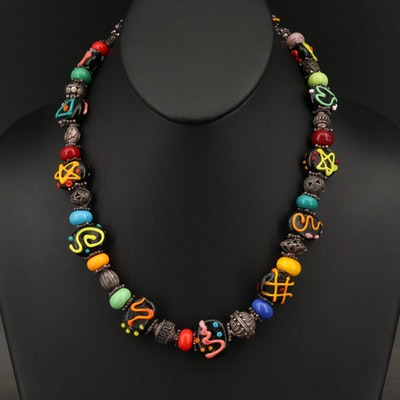 Lampwork Glass and Sterling Silver Necklace