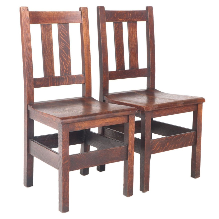 Pair of Stickley Bros. Arts and Crafts Quartersawn Oak Side Chairs