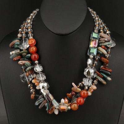 Agate, Jasper and Gemstone Triple Strand Necklace