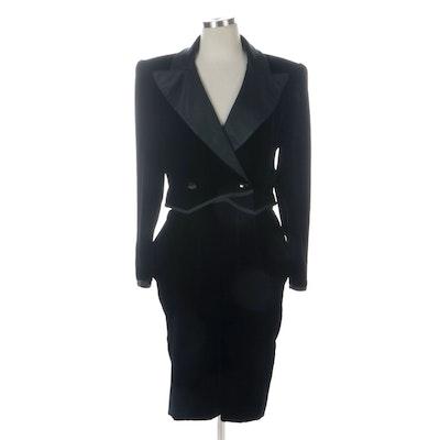 Valentino Boutique Velveteen Tuxedo Inspired Dress