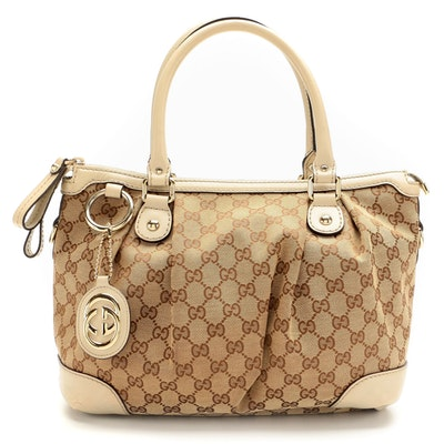Gucci Sukey GG Canvas and Beige Leather Two-Way Bag