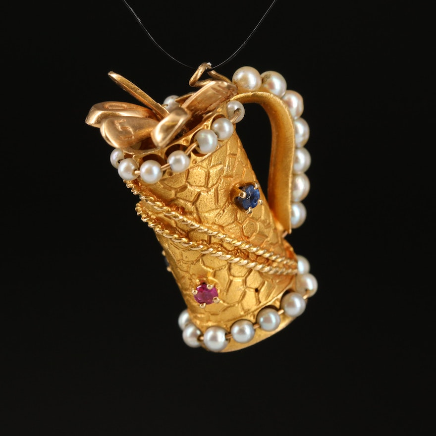 Vintage 14K Pearl, Sapphire and Ruby Golf Bag with Clubs Pendant