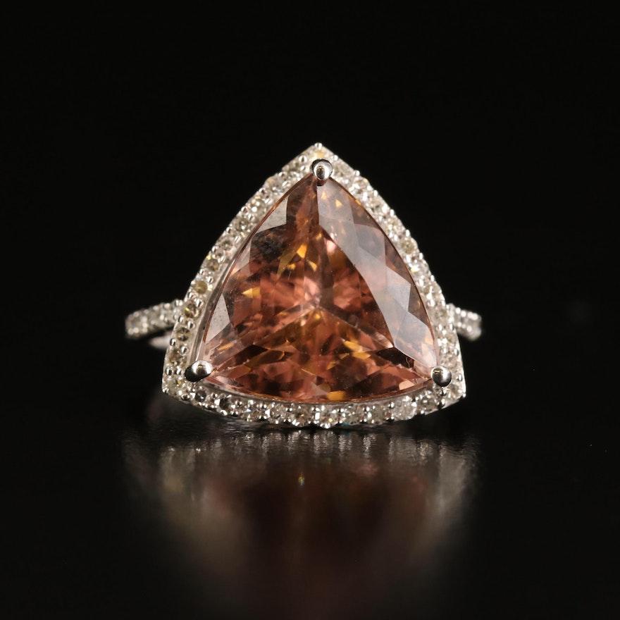 14K 6.10 CT Morganite and Diamond Halo Ring
