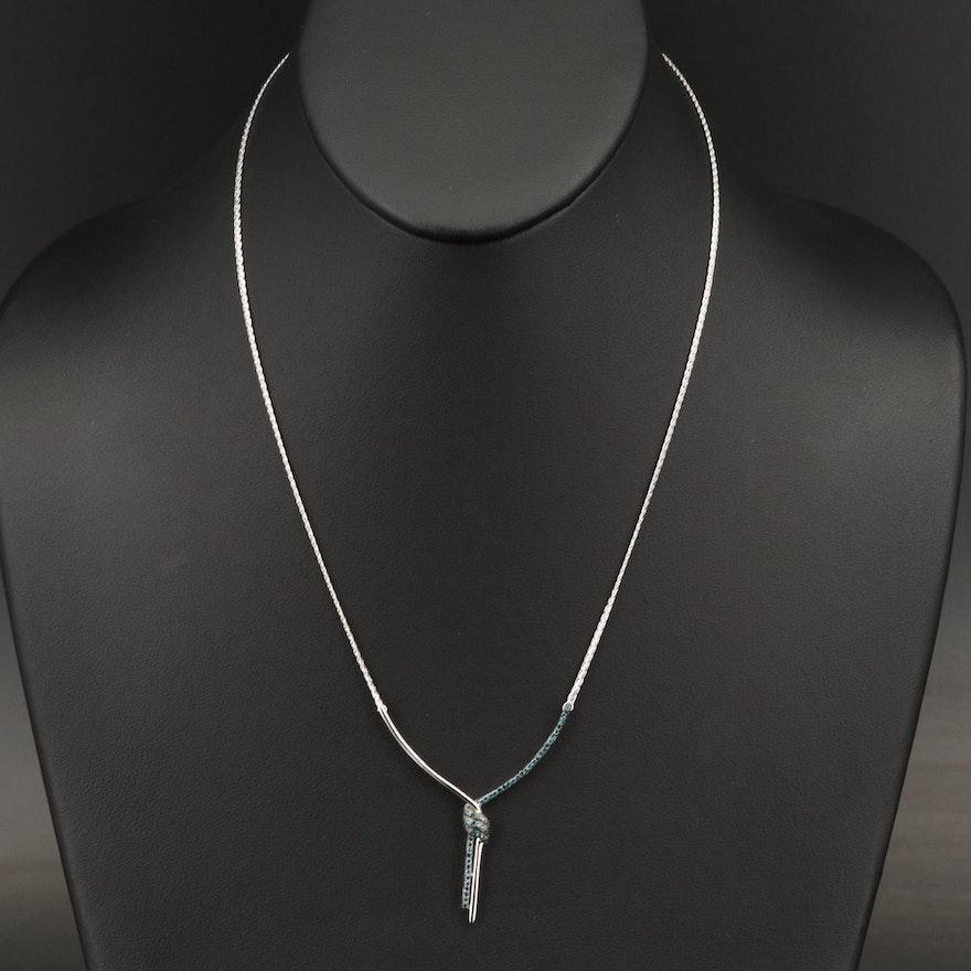 Sterling Silver Diamond Y Necklace