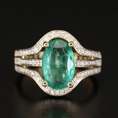 14K 2.90 CT Emerald and Diamond Open Shoulder Ring