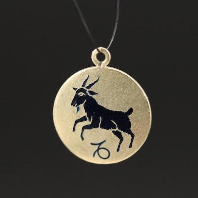 Vintage 14K Enamel Capricorn Zodiac Charm