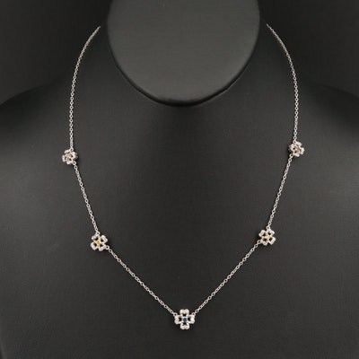 Sterling Silver Diamond Quatrefoil Station Necklace