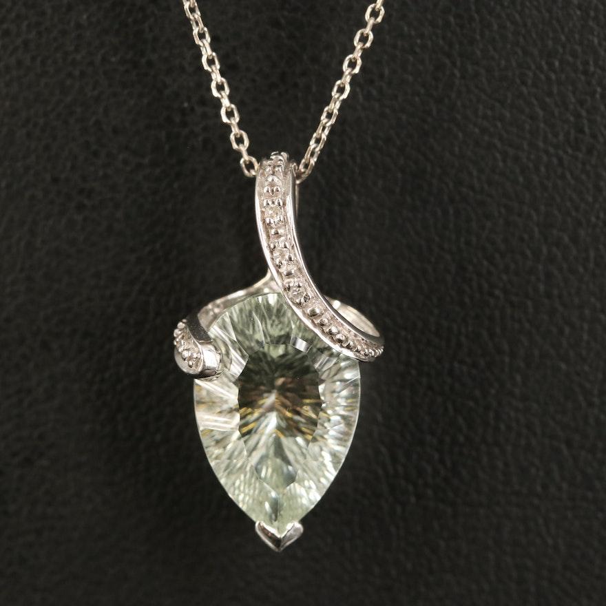 10K Prasiolite and Diamond Pendant on 14K Chain Necklace