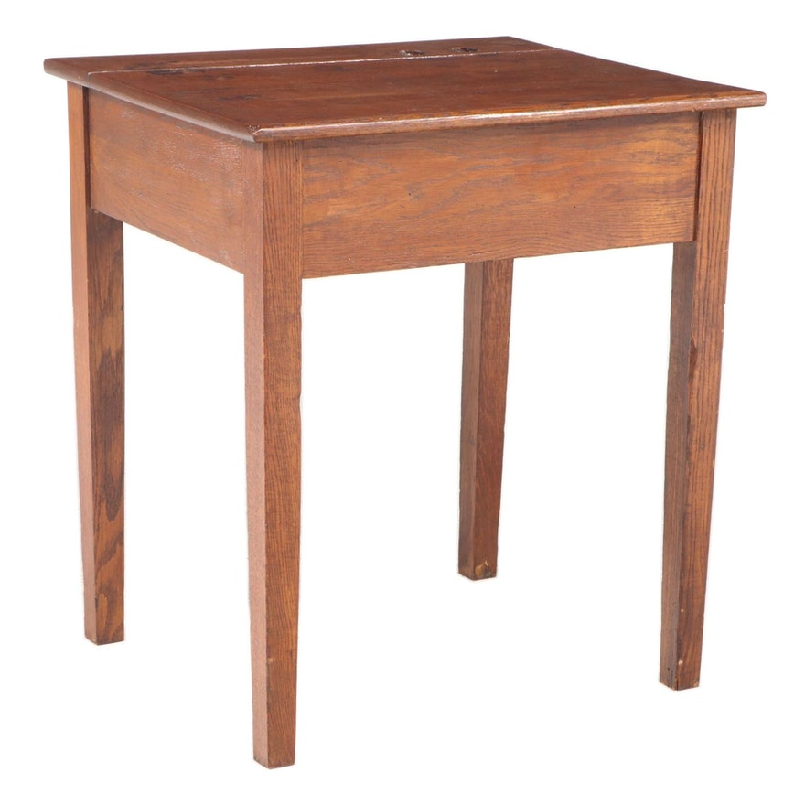 American Primitive Oak Lift-Lid Desk, Late 19th/Early 20th Century