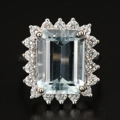 10K 6.65 CT Aquamarine and 1.00 CTW Diamond Halo Ring