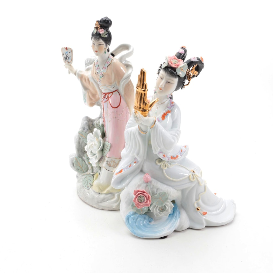 Chinese Porcelain Figurines, Late 20th Century