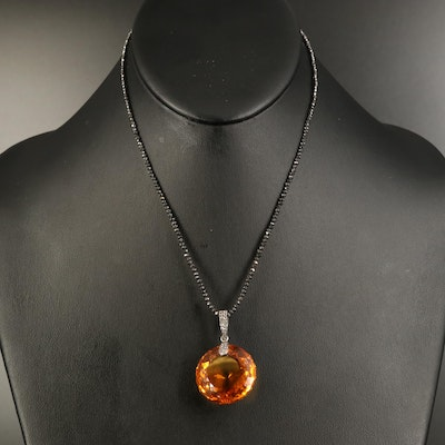 Sterling Citrine and Sapphire Pendant on Black Diamond Necklace with 18K Clasp