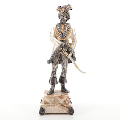 Anna Dauesiu Nobleman with Sword Gilt and Silvered Bronze Figurine on Onyx Base