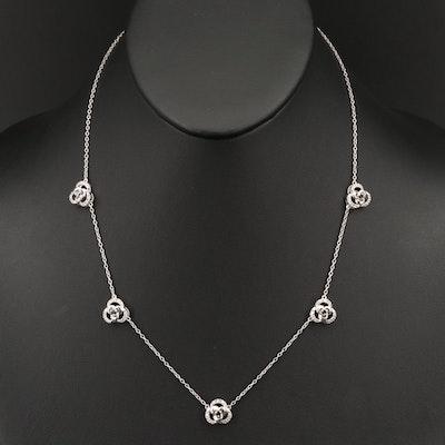 Sterling Silver Diamond Trefoil Knot Station Necklace