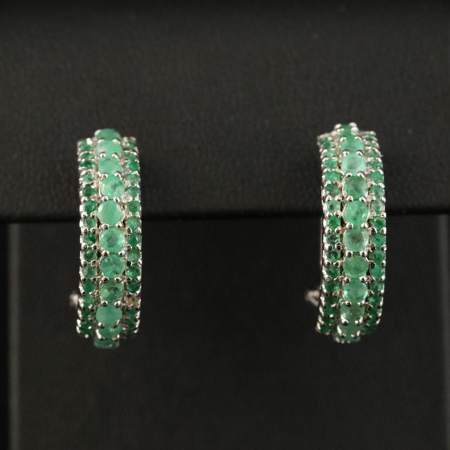 Sterling Silver Emerald Half Hoop Earrings