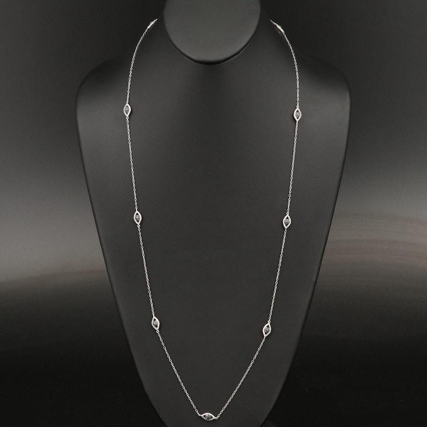 Sterling Silver 1.45 CTW Diamond Evil Eye Station Necklace