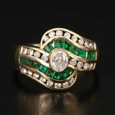 14K Diamond and 1.00 CTW Emerald Swirl Ring