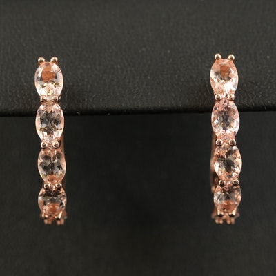 Sterling Silver Morganite Half Hoop Earrings